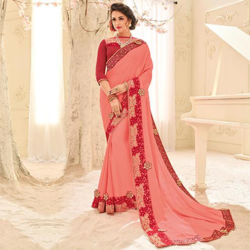 Pink Colored Designer Embroidered Bright Chiffon Saree