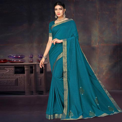 Stunning Teal Blue Colored Festive Wear Lace Work Vichitra Silk Saree
