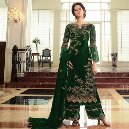 Arresting Green Colored Partywear Embroidered Georgette Palazzo Suit