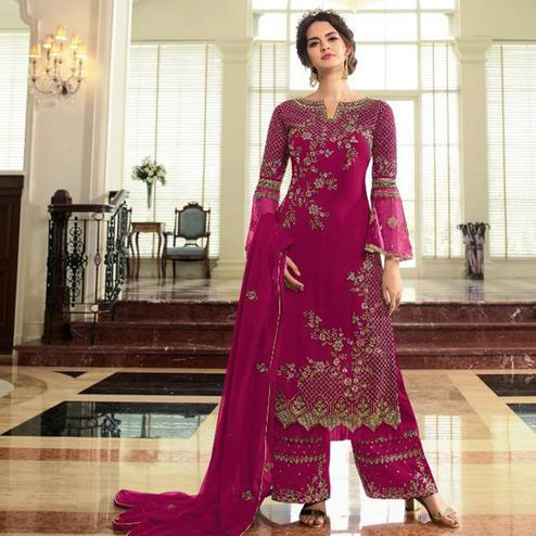 Desirable Pink Colored Partywear Embroidered Georgette Palazzo Suit