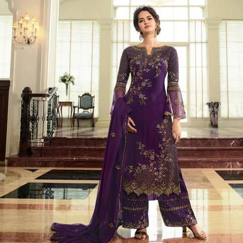 Exotic Wine Colored Partywear Embroidered Georgette Palazzo Suit