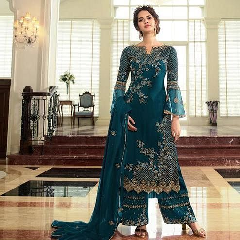 Sophisticated Aqua Blue Colored Partywear Embroidered Georgette Palazzo Suit