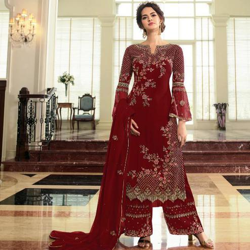 Trendy Maroon Colored Partywear Embroidered Georgette Palazzo Suit