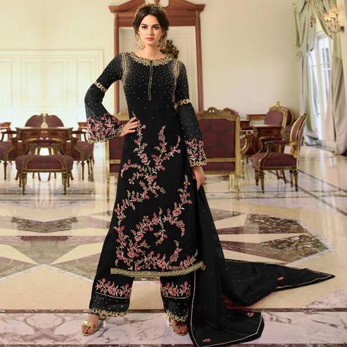 Elegant Black Colored Partywear Embroidered Georgette Palazzo Suit