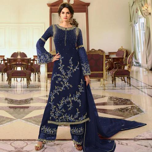 Radiant Navy Blue Colored Partywear Embroidered Georgette Palazzo Suit
