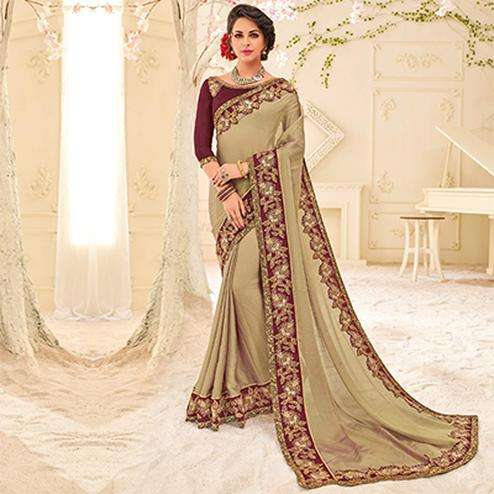 Beige Colored Designer Embroidered Two Tone Moss Chiffon Saree