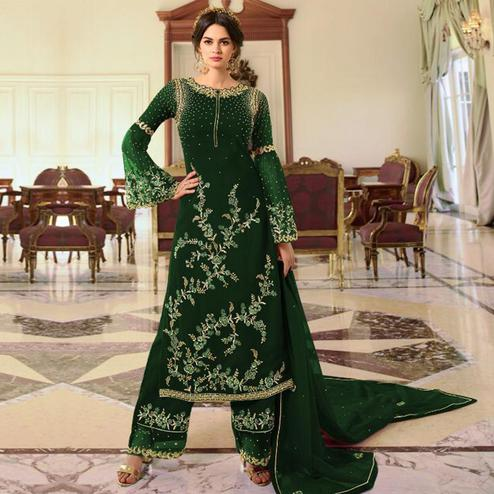 Pleasant Green Colored Partywear Embroidered Georgette Palazzo Suit