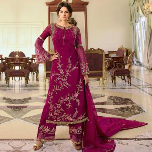 Opulent Pink Colored Partywear Embroidered Georgette Palazzo Suit