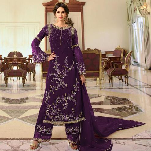 Energetic Wine Colored Partywear Embroidered Georgette Palazzo Suit