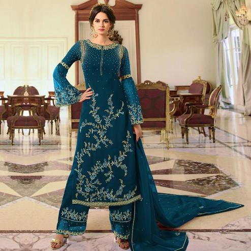 Glowing Aqua Blue Colored Partywear Embroidered Georgette Palazzo Suit