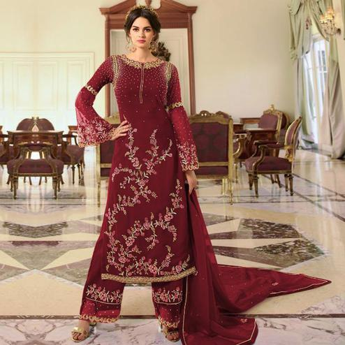 Exceptional Maroon Colored Partywear Embroidered Georgette Palazzo Suit
