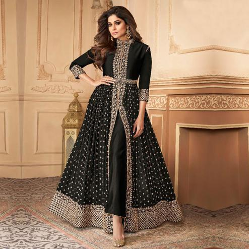 Refreshing Black Colored Partywear Embroidered Faux Georgette Abaya Style Suit