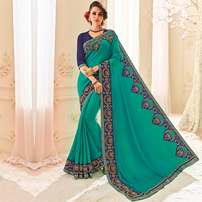 Green Colored Designer Embroidered Two Tone Silk Saree
