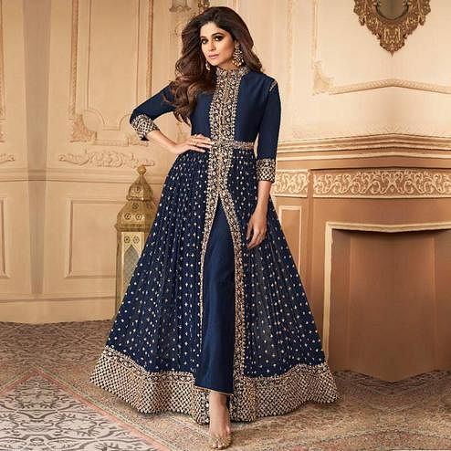 Magnetic Navy Blue Colored Partywear Embroidered Faux Georgette Abaya Style Suit