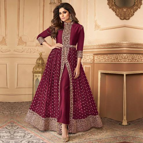 Flattering Purple Colored Partywear Embroidered Faux Georgette Abaya Style Suit