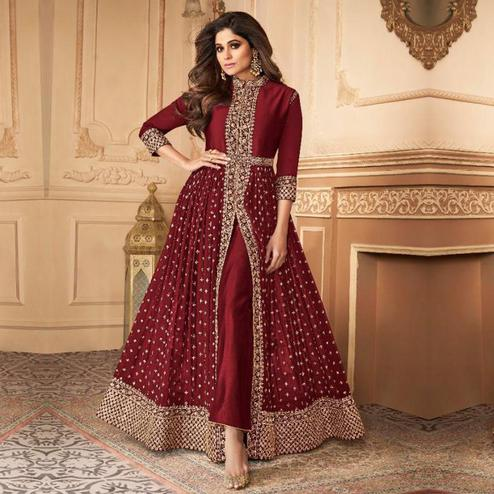 Excellent Maroon Colored Partywear Embroidered Faux Georgette Abaya Style Suit