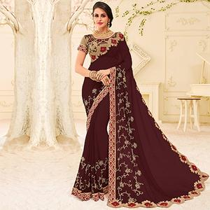 Maroon Colored Designer Embroidered Georgette Saree
