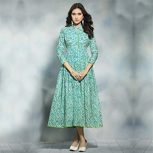 Graceful Green Printed Pure Rayon Kurti