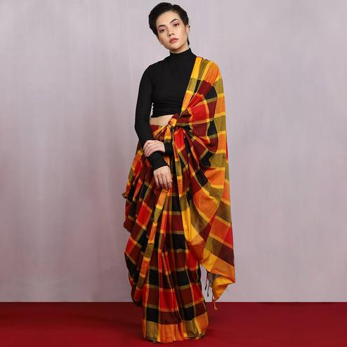 Naomi Fashion - Multi Colour Burst Check Saree