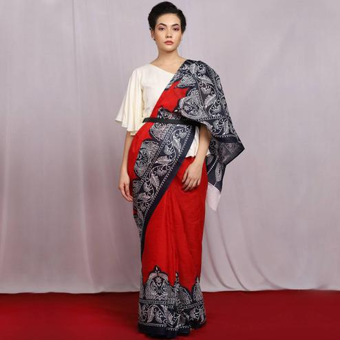 Naomi Fashion - Red Colored Glorious Cotton Saree