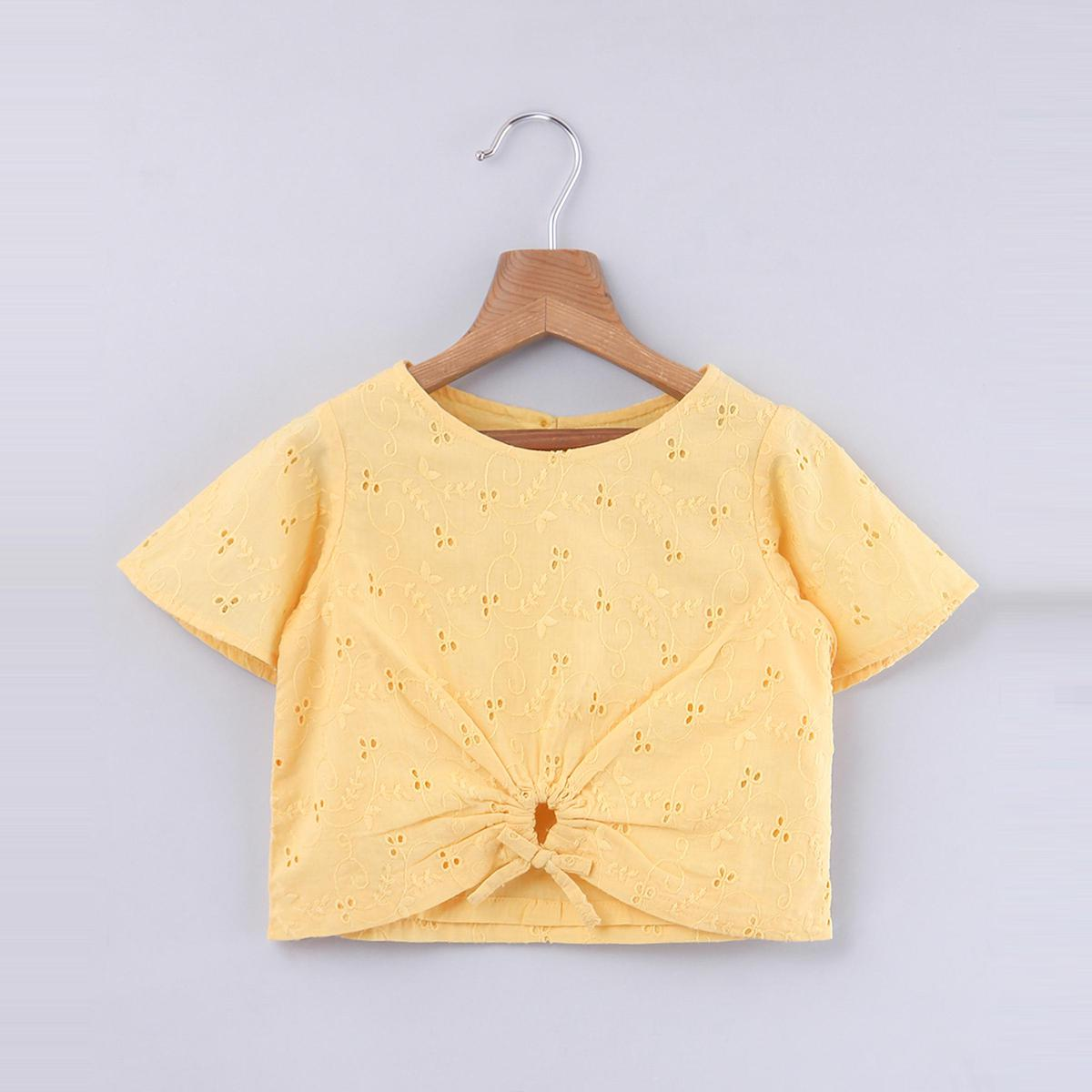 Beebay - Yellow Colored Broderie Knot Top For Infants Girls