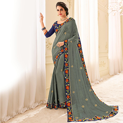 Grey Colored Designer Embroidered Two Tone Chiffon Pattern Saree