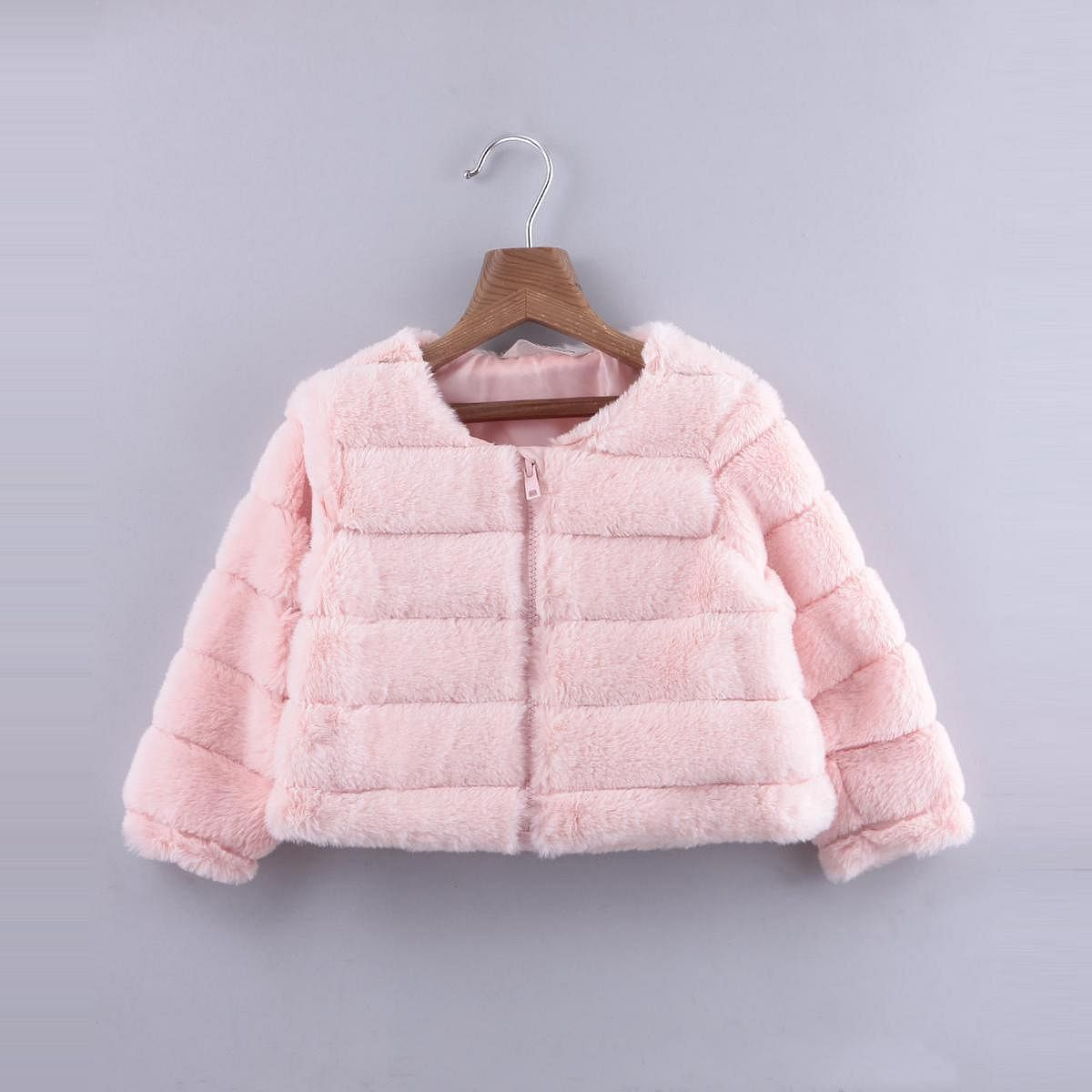 Beebay - Peach Colored Faux Fur Short Jacket For Infants Girls