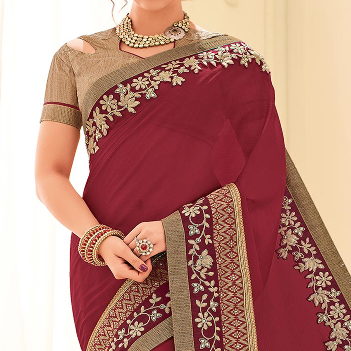 Red Colored Designer Embroidered Silk Saree