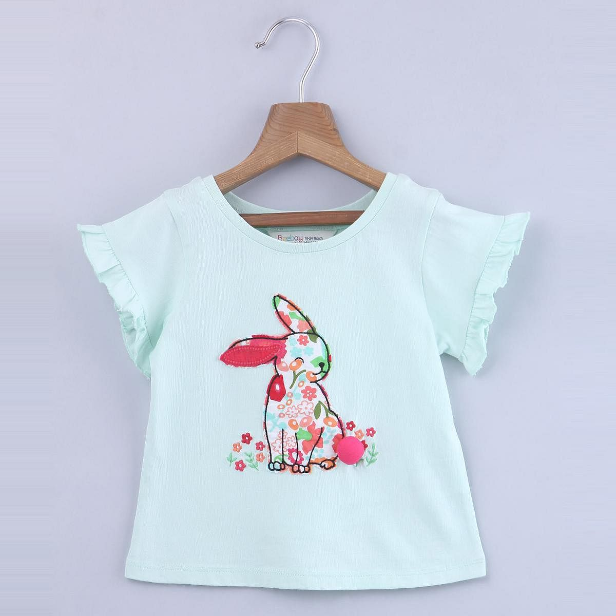Beebay - Lt.Green Colored Bunny Applique T-Shirt For Kids Girls