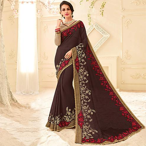 Brown Colored Designer Embroidered Bright Chiffon Saree