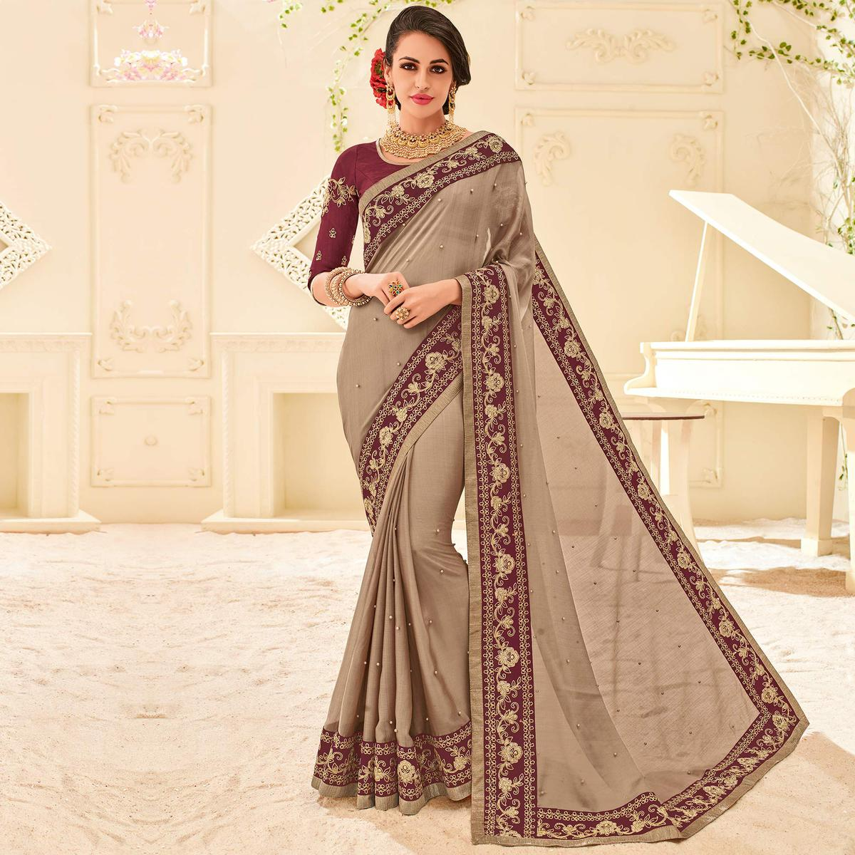 Brown Colored Designer Embroidered Two Tone Chiffon Pattern Saree