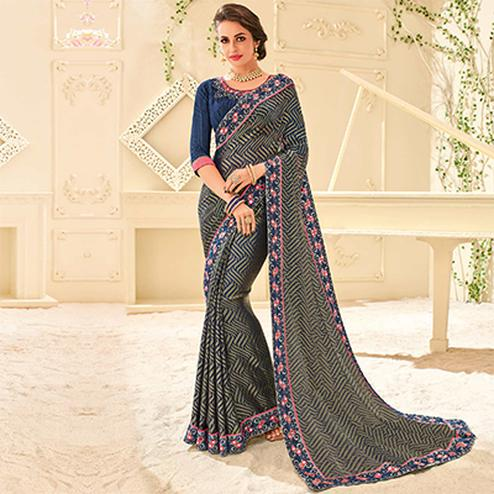 MultiColored Designer Embroidered Brasso Saree