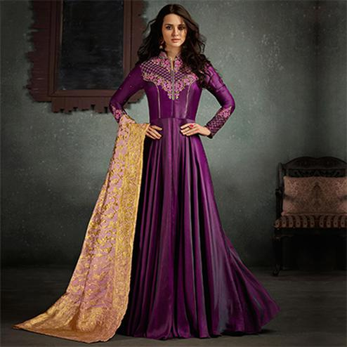 Alluring Purple Designer Embroidered Pure Rayon Anarkali Gown With Banarasi Silk Dupatta
