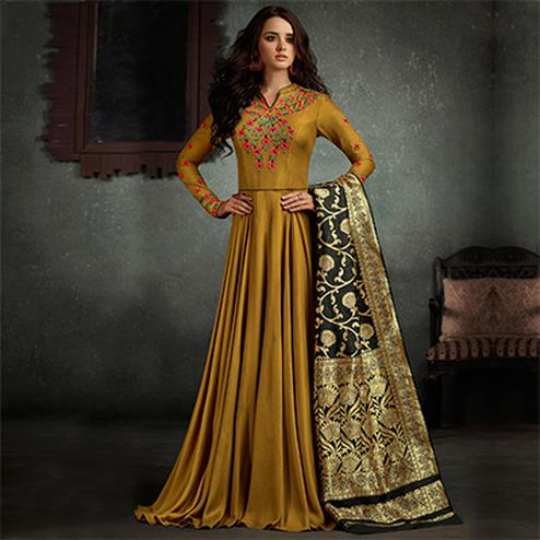 Mesmerising Mustard Yellow Designer Embroidered Pure Rayon Anarkali Gown With Banarasi Silk Dupatta