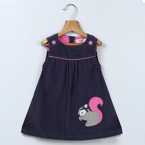 Beebay - Navy Colored Squirrel Applique Pinafore Dress For Kids Girls