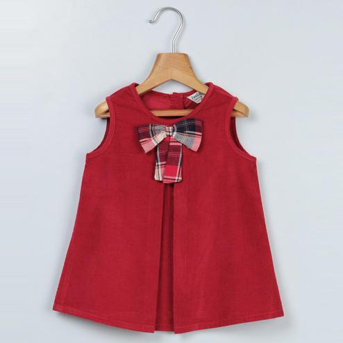Beebay - Maroon Colored Maroon Corduroy Bow Dress For Kids Girls