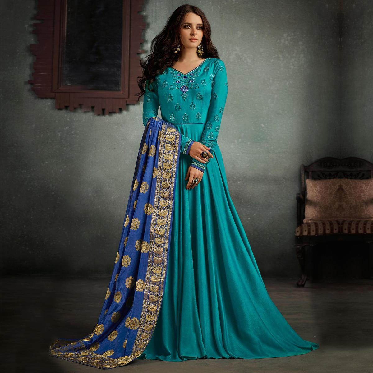 977d5f7fc8962 Buy Attractive Blue Designer Embroidered Pure Rayon Anarkali Gown With  Banarasi Silk Dupatta for womens online India, Best Prices, Reviews -  Peachmode