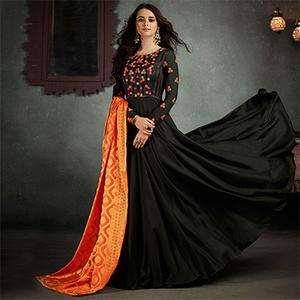 Stunning Black Designer Embroidered Pure Rayon Anarkali Gown With Banarasi Silk Dupatta
