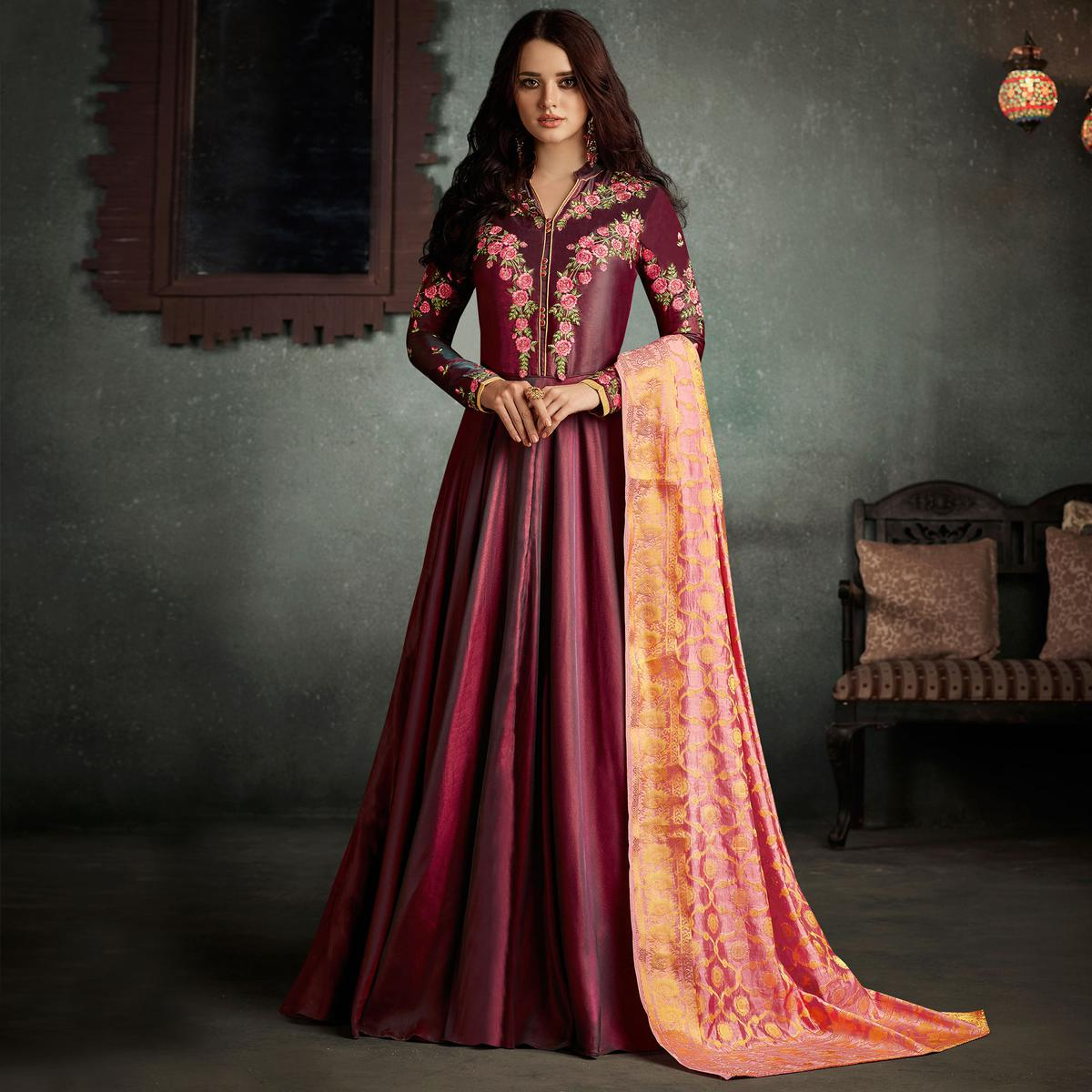 5a33df7a5bc8a Buy Marvellous Maroon Designer Embroidered Pure Rayon Anarkali Gown With  Banarasi Silk Dupatta for womens online India, Best Prices, Reviews -  Peachmode