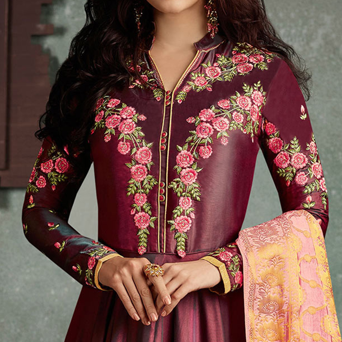 Marvellous Maroon Designer Embroidered Pure Rayon Anarkali Gown With Banarasi Silk Dupatta