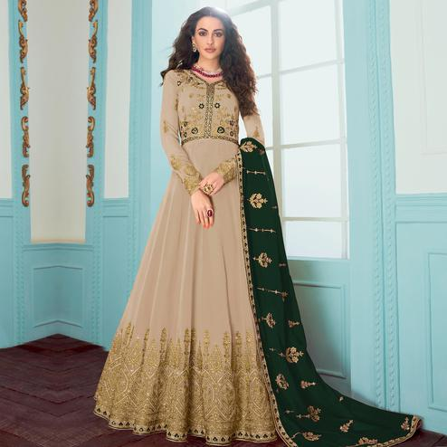 Alluring Cream Colored Partywear embroidered Faux Georgette Anarkali Suit