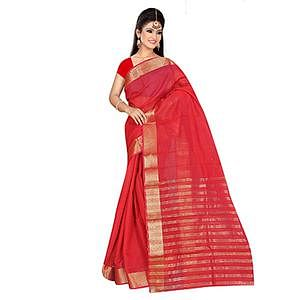 Red Weaving Work Cotton Saree