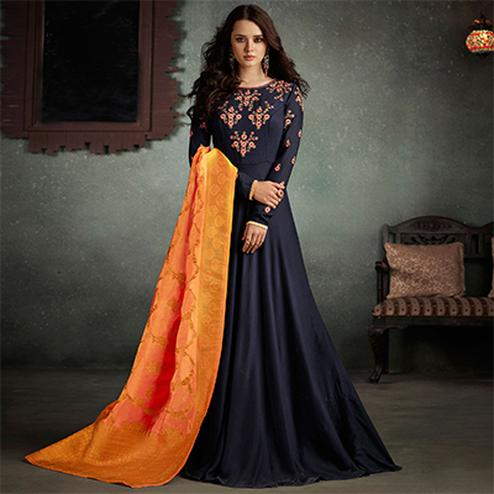 Charismatic Navy Blue Designer Embroidered Pure Rayon Anarkali Gown With Banarasi Silk Dupatta