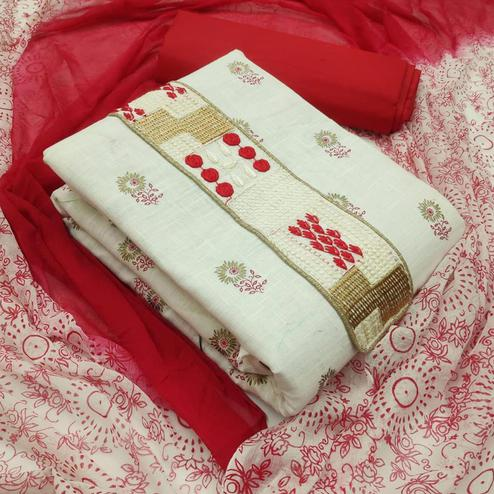 Sensational White - Red Colored Partywear Embroidered Cotton Dress Material