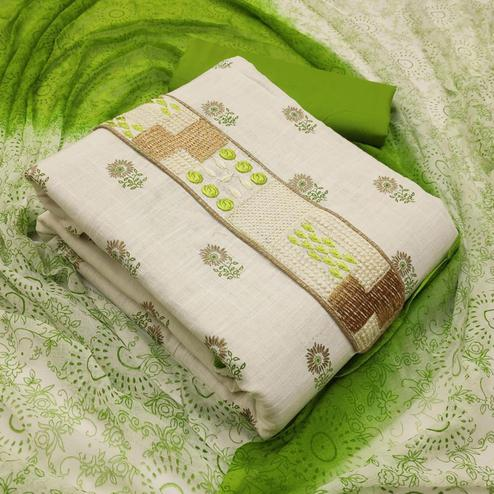Flaunt White - Green Colored Partywear Embroidered Cotton Dress Material