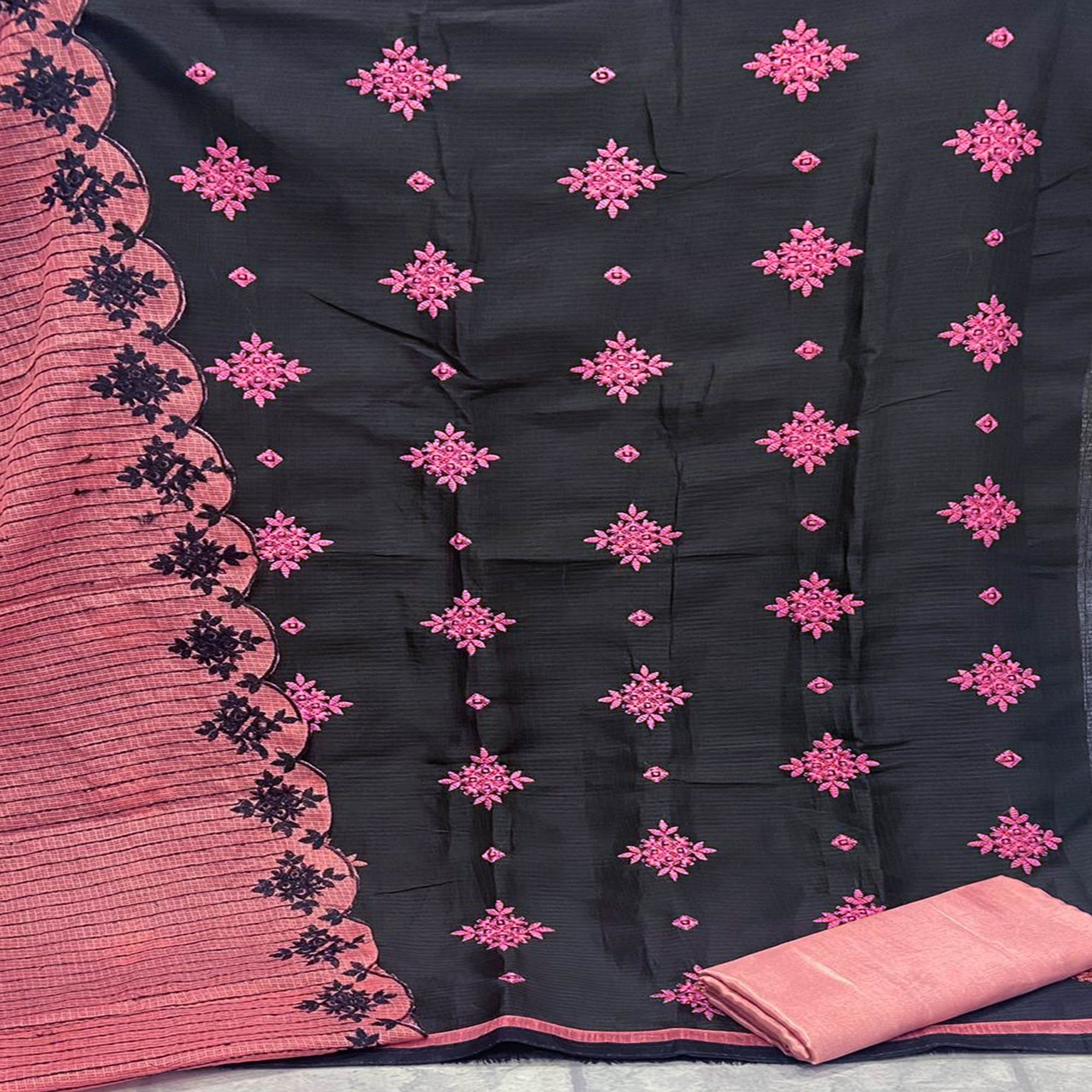 Prominent Black - Pink Colored Partywear Embroidered Kota Chex Dress Material