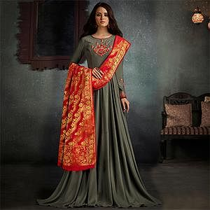 Gorgeous Gray Designer Embroidered Pure Rayon Anarkali Gown With Banarasi Silk Dupatta