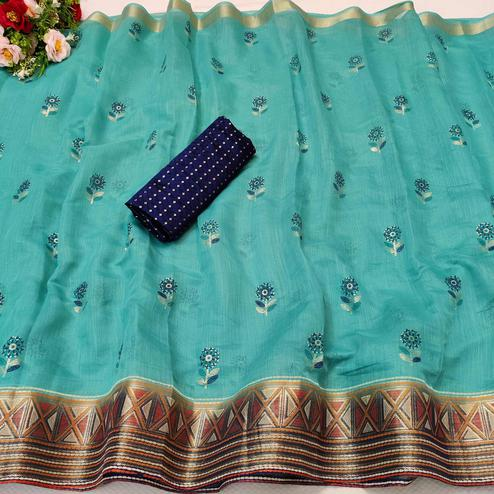 Charming Sea Green Colored Festive Wear Foil Printed Cotton Silk Saree