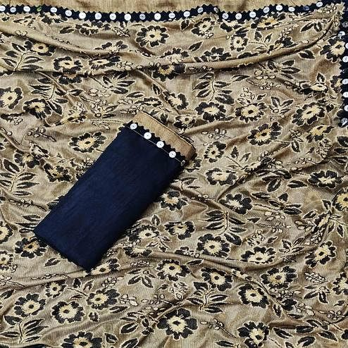 Engrossing Beige Colored Festive Wear Floral Woven Lycra Saree