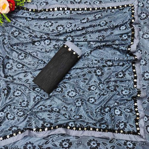 Captivating Grey Colored Festive Wear Floral Woven Lycra Saree